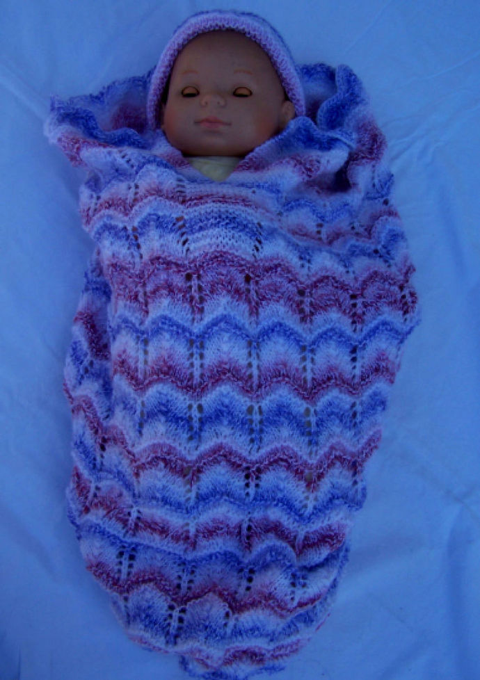 Hand Knitted Random Coloured Baby Papoose And Hat Set - FREE SHIPPING