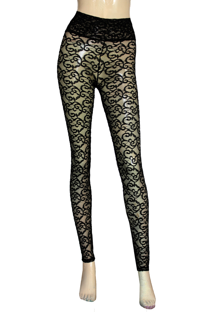 Black Lace Leggings Sheer Pants High Waist Tights Plus Size Lingerie Sexy Gothic