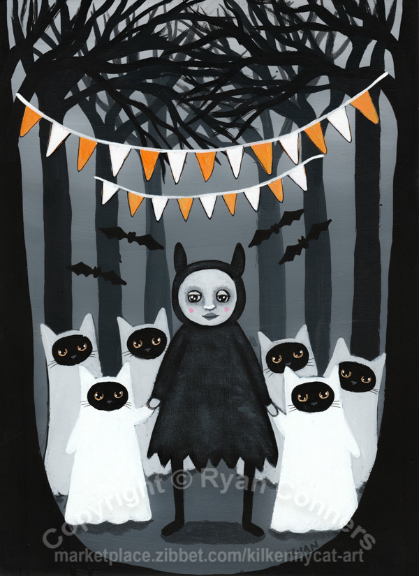 The Ghost Kitties in the Woods Original Cat Folk Art Painting