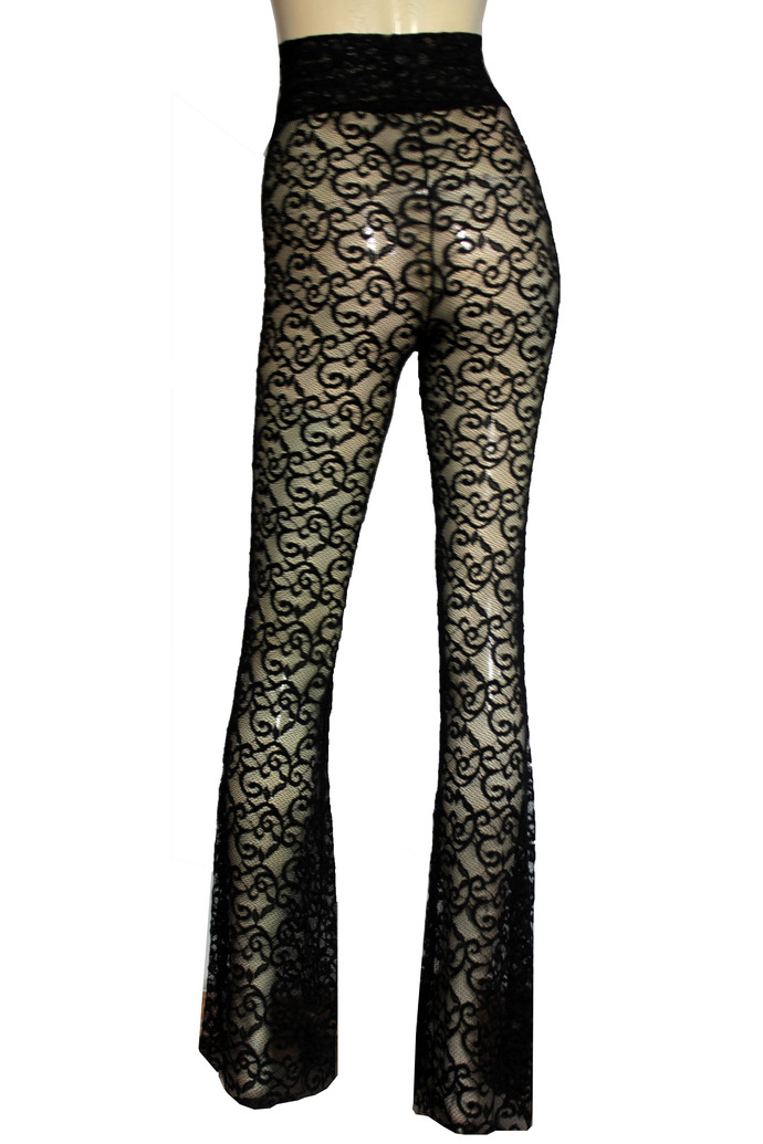 Flare Pants Black Lace Bell Bottoms Sheer High Waist Pants Plus Size Lingerie