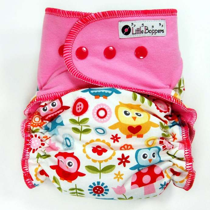 Play Day Owls - Cloth Diaper or Cover - You Pick Size and Style - Made to Order