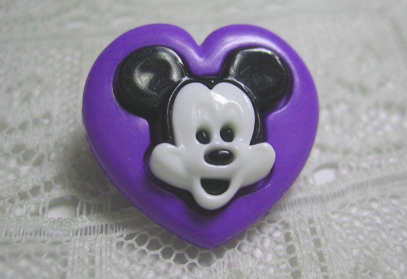 Purple Heart Shaped Mickey Mouse 3pc Snaptogether Clothing Button