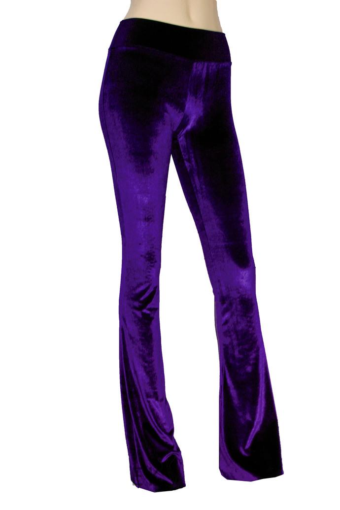 Velvet Bell Bottoms Burgundy Flare Pants High Rise Boho Pants Wine Plus Size
