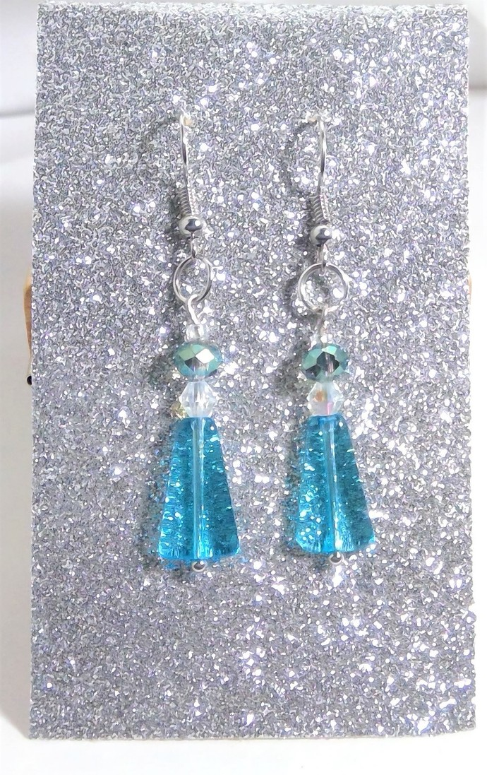 Dangle Triangle Crystal AB Earrings blue Handmade Jewelry Tear drop