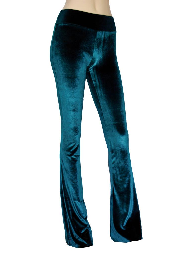 Navy Blue Velvet Pants High Rise Bell Bottoms Flare Pants Boho Pants Plus Size