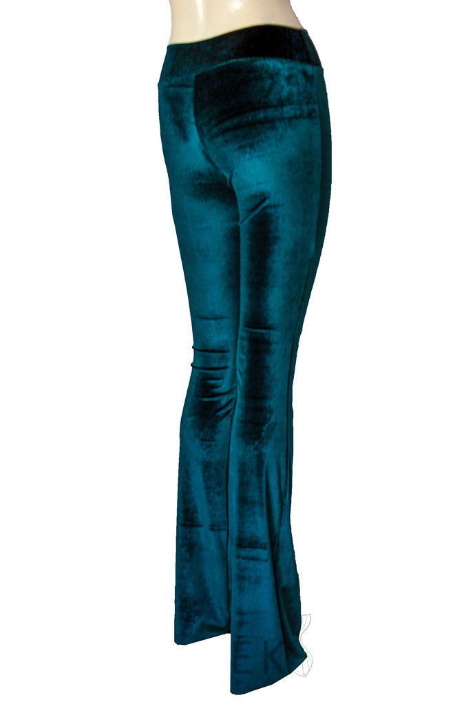 Teal Velvet Pants High Rise Bell Bottoms Turquoise Flare Pants Boho Pants Plus