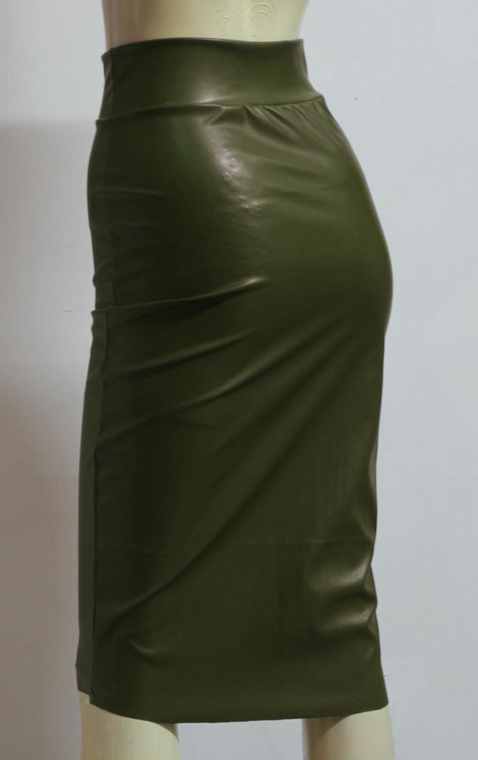 Black Leather Skirt Pencil Skirt Midi Hobble Skirt High Waisted Bodycon Skirt