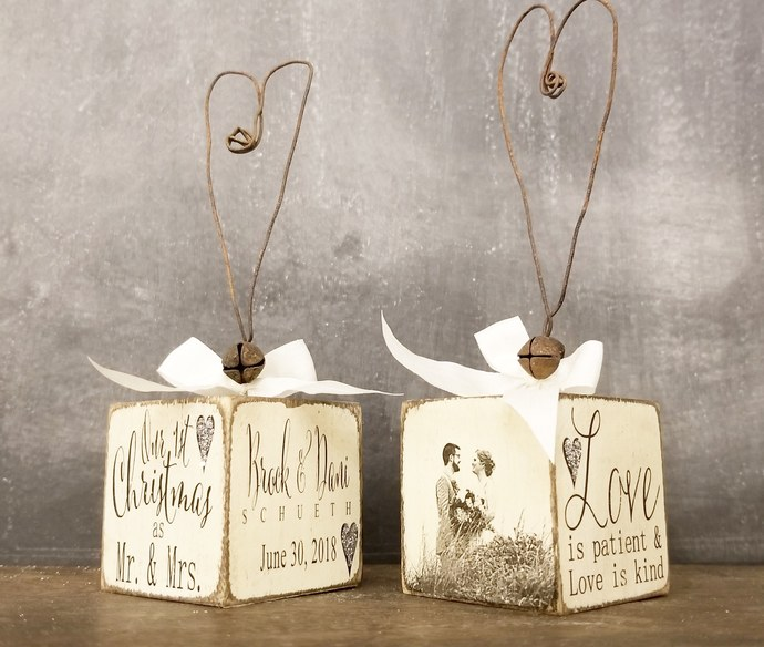 JUST MARRIED Christmas Ornament | Personalized Christmas Ornament | Mr and Mrs