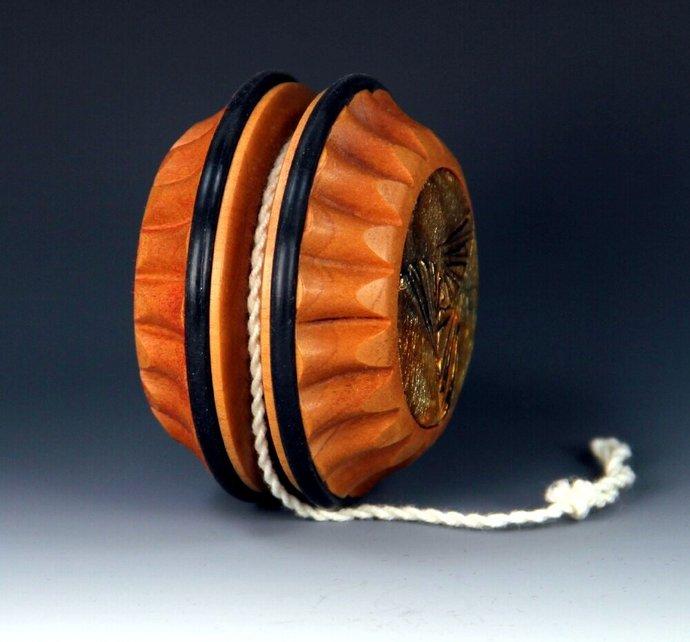 Handmade Toy Yo-Yo,  Swiss Pear Wood With Gold Leaf Caps & Gift Box