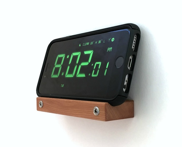 Wall Alarm Clock Phone Stand for iPhone X, 8, 7, and 6, Wall Cell Phone Holder,