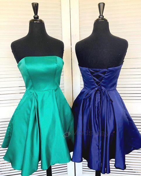 Strapless Satin Short Homecoming Dress, Elegant Party Dress