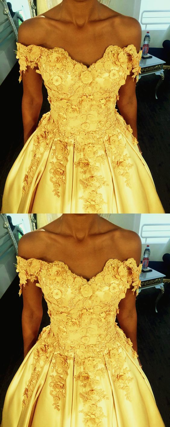 Fashion Off the Shoulder Yellow Ball Gowns, Appliques Formal Dress