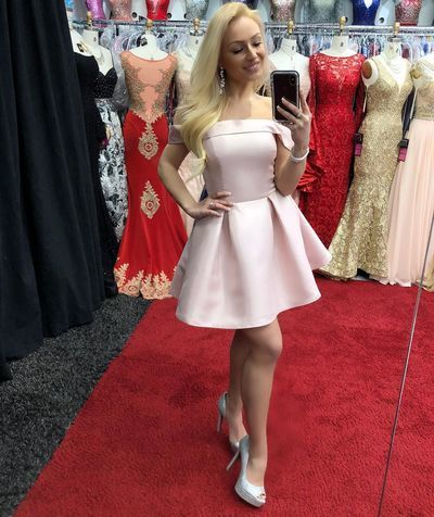 Off the Shoulder Pink Satin Homecoming Dress, Sexy Short Party Gown