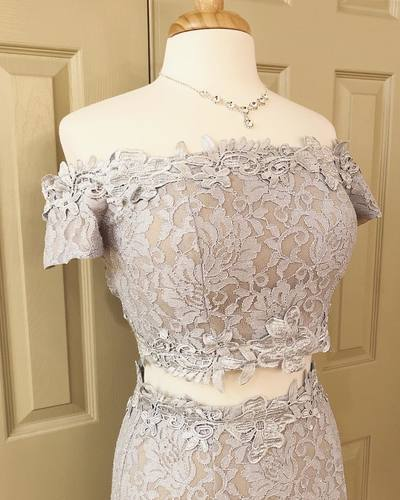 Charming Off the Shoulder Lace Two Piece Prom Dress, Sexy Long Evening Dress