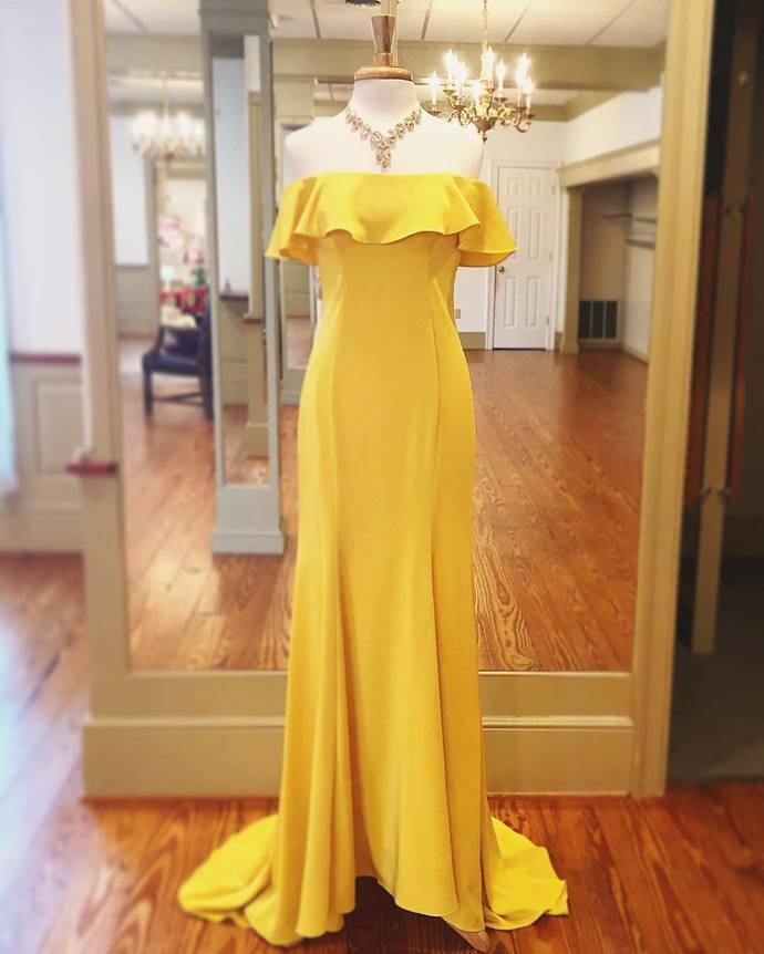 Charming Off the Shoulder Yellow Long Prom Dress, Sexy Evening Party Dress