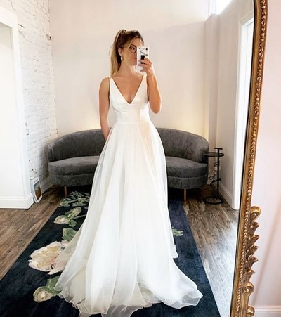 White V neck Simple Backless A Line Formal Wedding Dresses