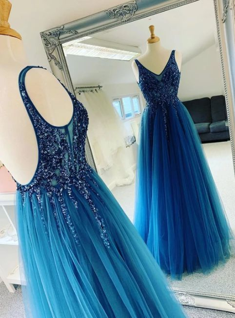 Sexy Blue Beading Open Back Floor Length Tulle Prom Dress, Long Evening Dress