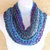 Infinity Moebius Scarf, spiral crocheted in Jeweltones Blue, Purple, and Teal