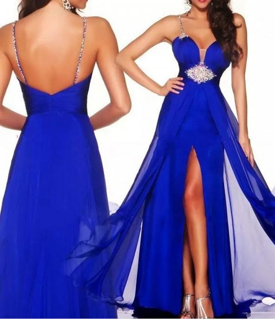Sexy Royal Blue Spaghetti Straps Chiffon A Line Prom Party Dress with Slit