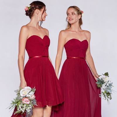 Sweetheart Burgundy Simple A Line Bridesmaid Dresses, Wedding Party Gown