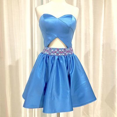 Blue Short Party Dress with Beads Belt, Sweetheart Homecoming Dress