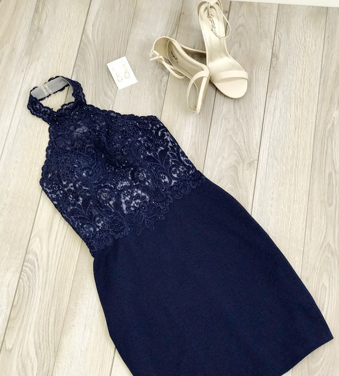 Halter Lace Tight Short Party Dress