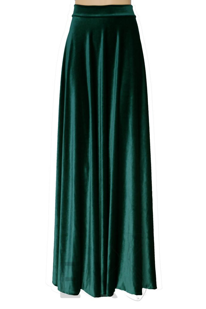 Emerald Green Velvet Skirt Maxi Bridesmaids Skirt A-line Skirt Plus Size Skirt