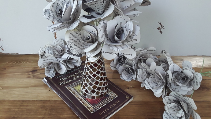 Jules Verne Book Page Paper Flowers, Journey to the Center of the Earth,