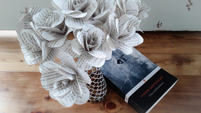 Book Page Flowers handmade with the book Crime and Punishment, Fyodor