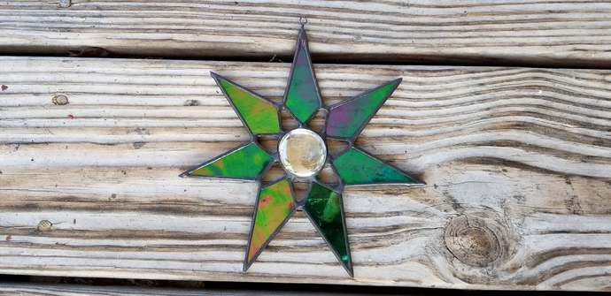 Stained glass star suncatcher iridescent black stained glass Christmas ornament