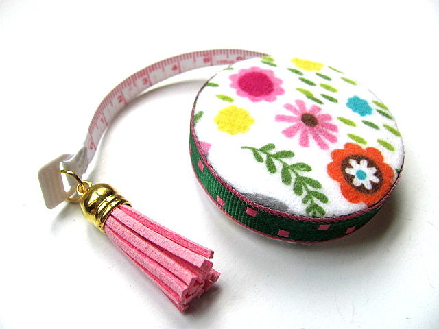 Tape Measure Pink Hippo and Flowers Small Retractable Measuring Tape