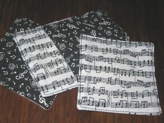 4 Black and White Music Notes Coasters