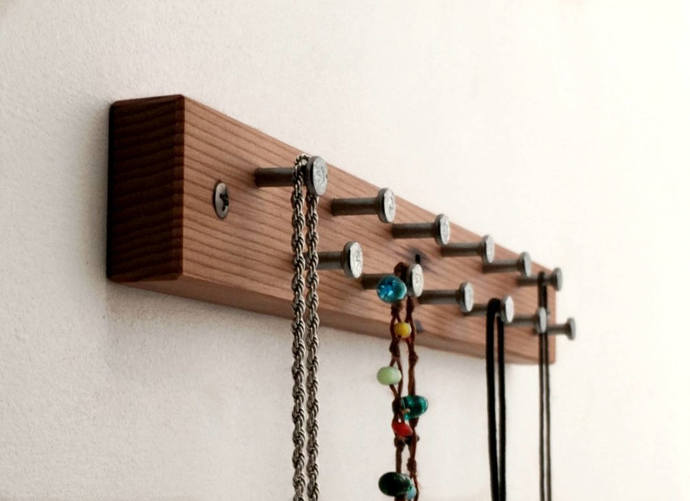 Small Jewelry Organizer, Short, Wood and Metal, Eco Friendly Necklace Display,