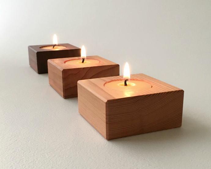 Square Contemporary Wood Tea Lights, Candle Decor, Candle Gift Set of Three with