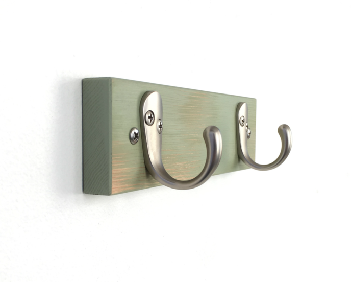 Green Painted Double Wall Hooks for Kitchen, Bath or Bedroom. Black or Nickel