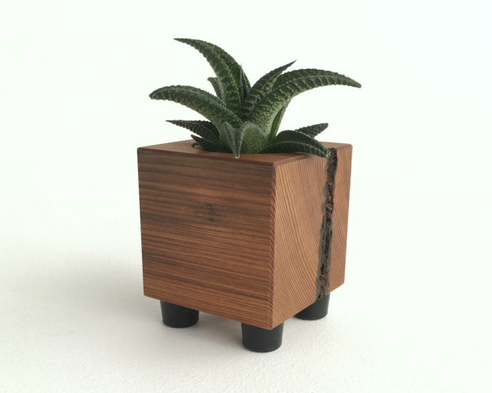 Cube Shaped Rustic Accent Planter for the Home or Office
