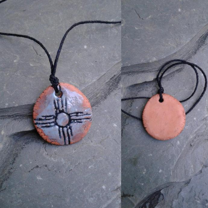 Zia Sun Necklace Turquoise Terra Cotta Pendant Native American Solar Symbol