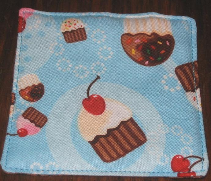 4 Blue Cupcake Coasters