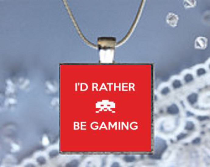 Pendant Necklace I'd Rather Be Gaming
