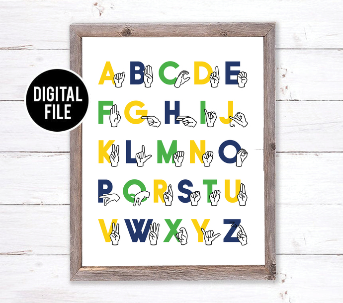 ABC Boy Nursery Art - Sign Language Alphabet Art - ASL Alphabet Printable Art