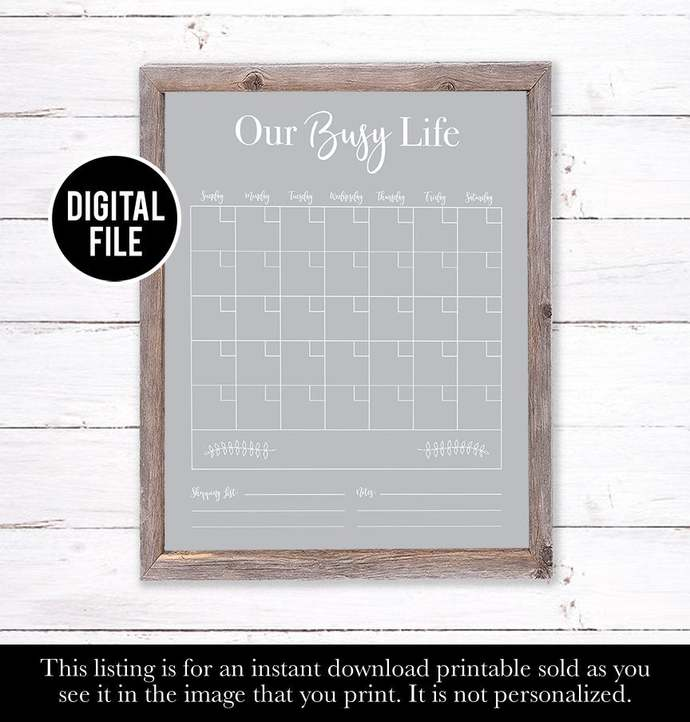 Printable Family Calendar, Farm House Decor, Dry Erase Calendar Printable, Eco