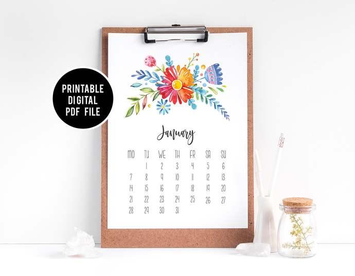 2020 Calendar Printable, Bright Bold Floral Printable Calendar, Flower Desktop