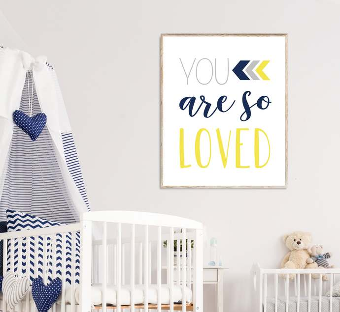 Yellow, Navy and Gray You are so loved nursery printable art, Boho Tribal baby