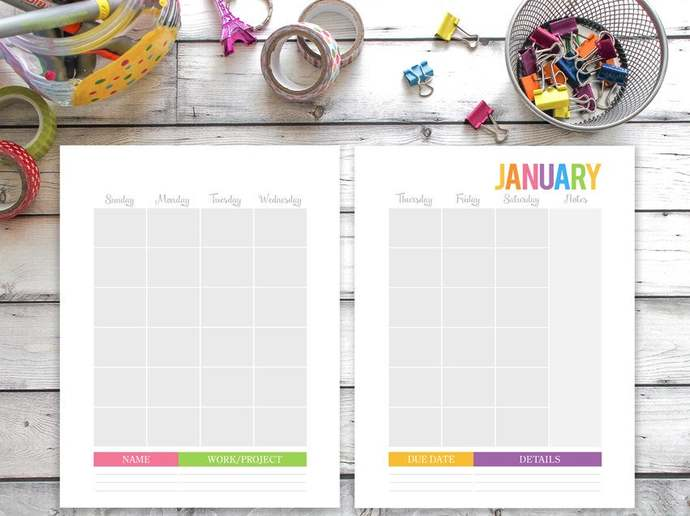 Printable Calendar ANY YEAR, Family binder calendar, Family planner, Full Sheets