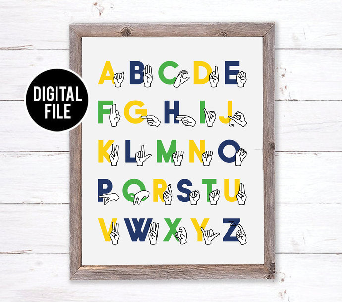 ASL Sign Language Alphabet Art - Modern Nursery Art - Alphabet Printable Art -