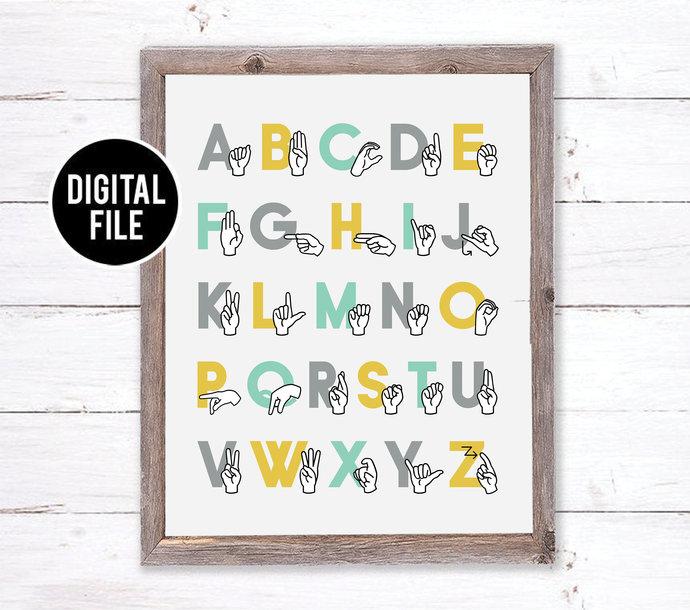 ASL Alphabet Printable Art Wall Decor  - Sign Language Alphabet Art - Woodland