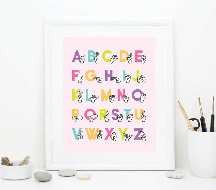 ASL Alphabet Printable Art Wall Decor - Sign Language Alphabet Art - ABC Girl