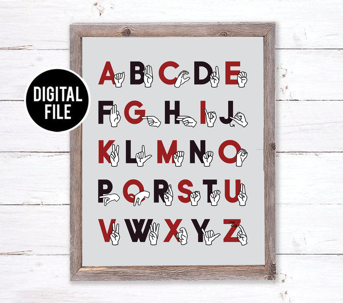 ASL Sign Language Alphabet Art - Modern Nursery Art - Alphabet Printable Art -