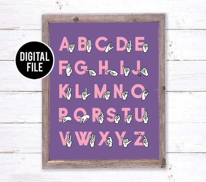 ASL Alphabet Art - Modern Nursery Art - Alphabet Printable Art Wall Decor - ABC