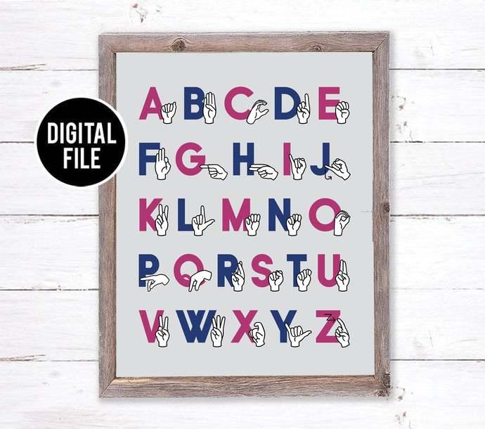 ASL Alphabet Printable Art Wall Decor - Modern Abc Nursery Art - Abc Sign